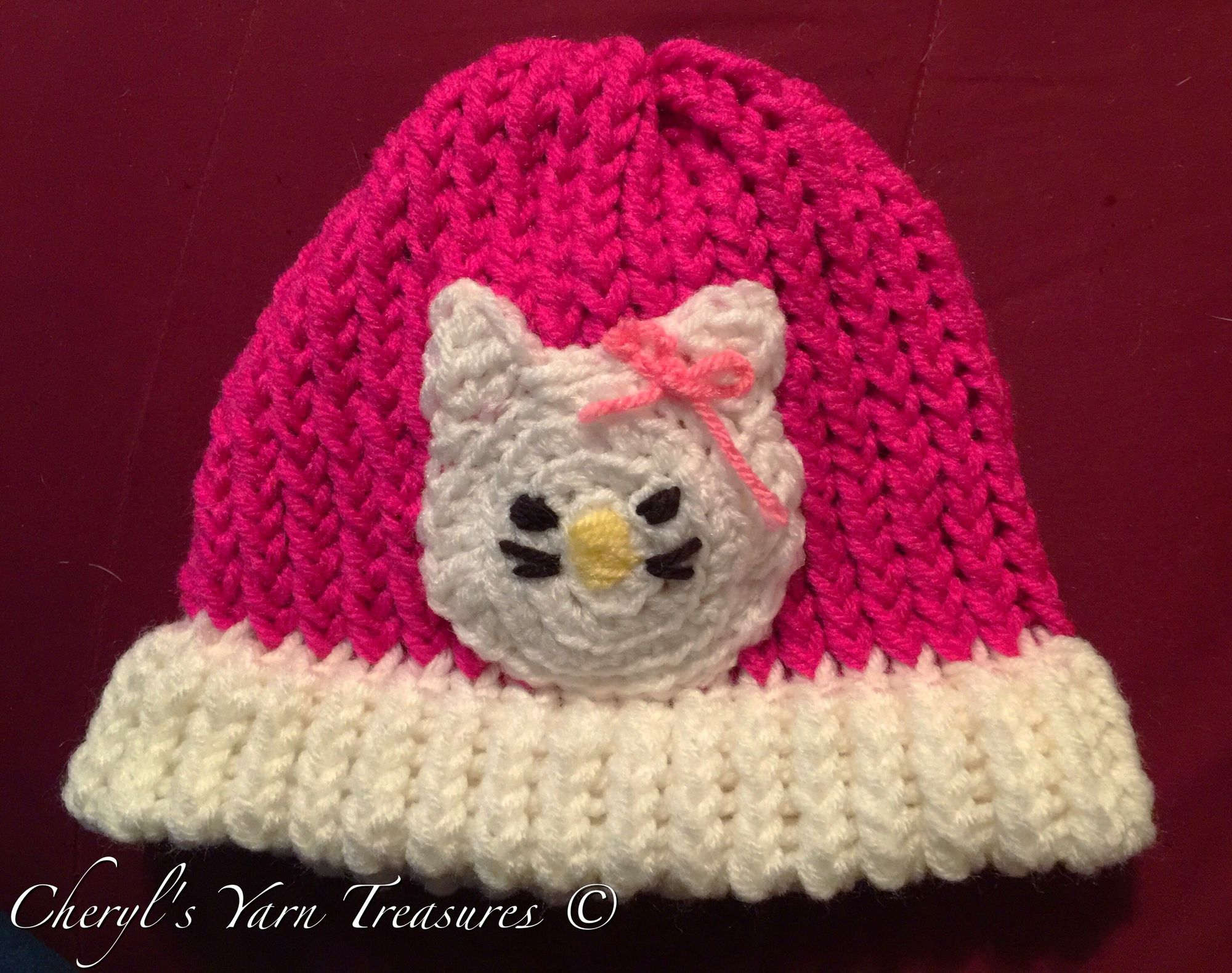 Toddler Loom Knit Hello Kitty Hat