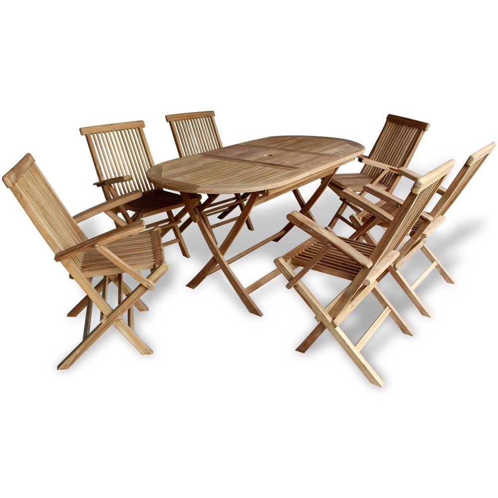 Teak 7 Piece Wooden Outdoor Dining Garden Patio Furniture Folding ...