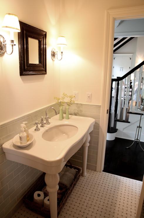 Cote De Texas Gorgeous Powder Room With Sage Green Glass Tiles