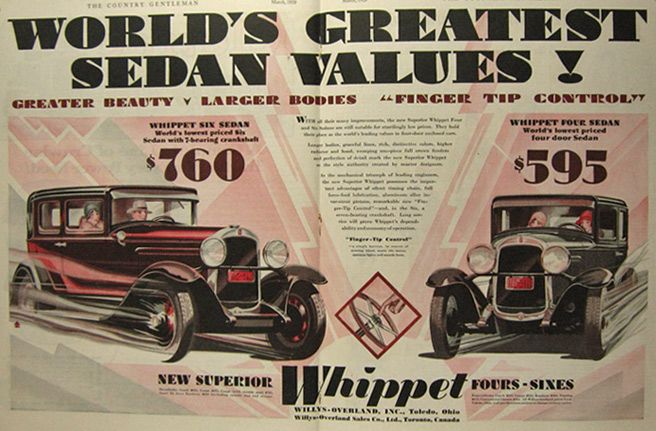 1928 Willys Overland Whippet Four Six Car Ad Vintage Jeep