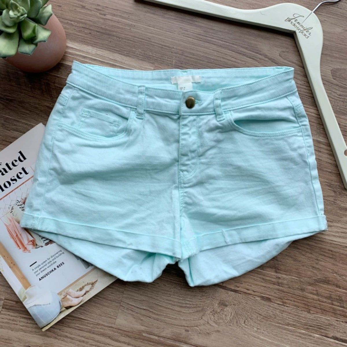 H&M Light Blue Denim Shorts #lightblueshorts