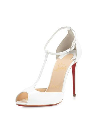 huge discount 8e419 ebb61 Senora Patent 100mm Red Sole T-Strap Sandal White | Mine ...