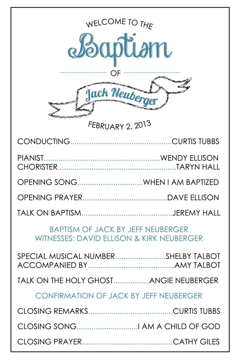 Printable Baptism Program - LDS, Girl, Boy | Lds baptism program ...