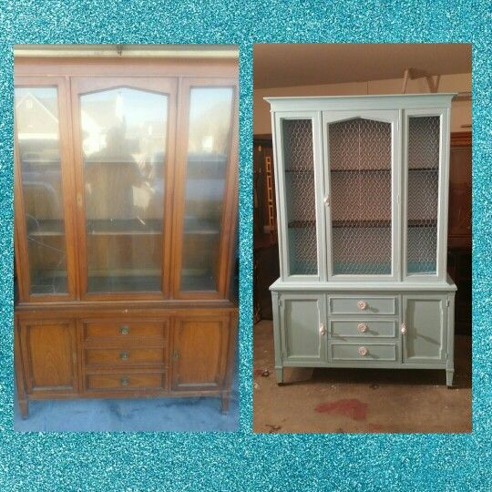 Tiffany blue hutch. Before and after. Www.facebook.com/okiecharm