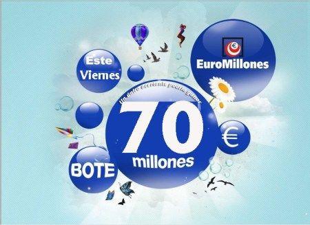 Euromillones, Bote, 70 Millones €, Viernes 16 agosto 2013