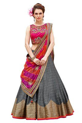 7ee543261e Grey embroidered banglory silk unstitched lehenga and bollywood ...