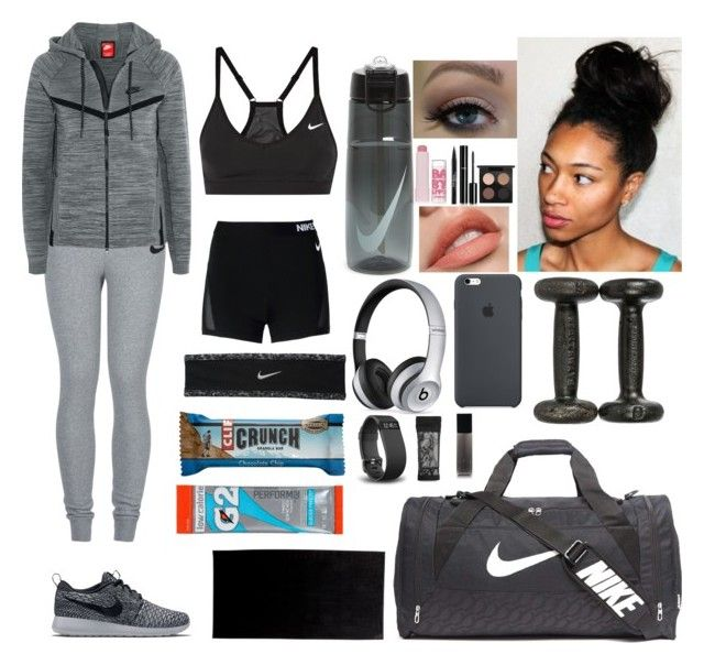 """""""summer work outs"""" by cams-cloud ❤ liked on Polyvore featuring NIKE, Maybelline, Trish McEvoy, MAC Cosmetics, Chanel, Beats by Dr. Dre, Fitbit, adidas and Givenchy"""