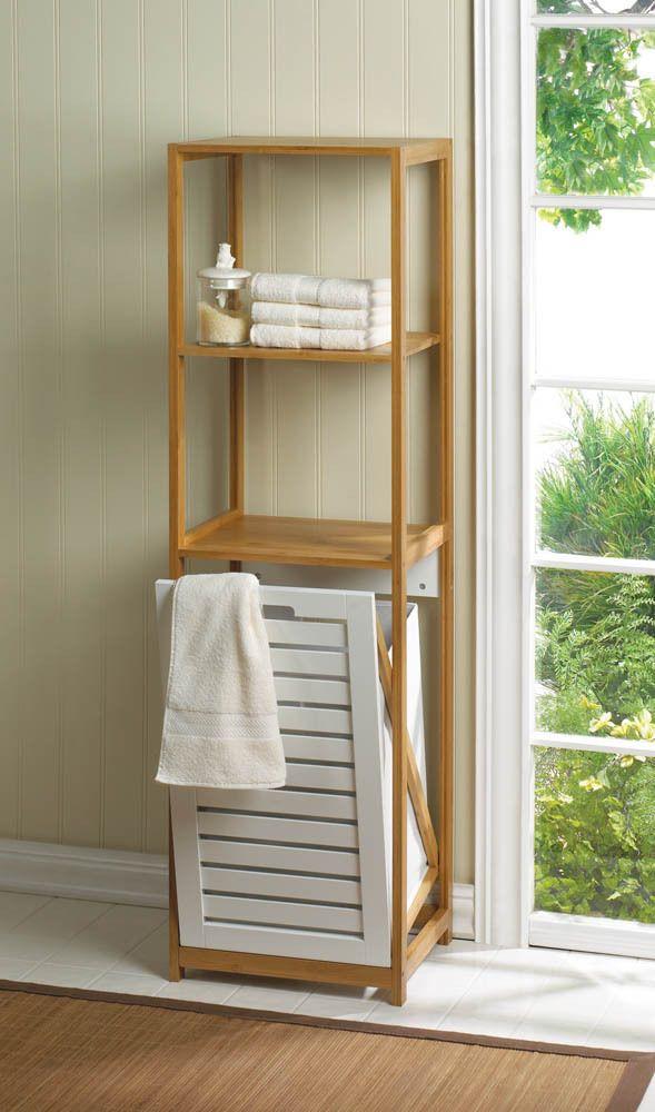 Bamboo Wood Bathroom Shelf Storage Hamper Cabinet Organize New Item Free Ship Bathroomhamper