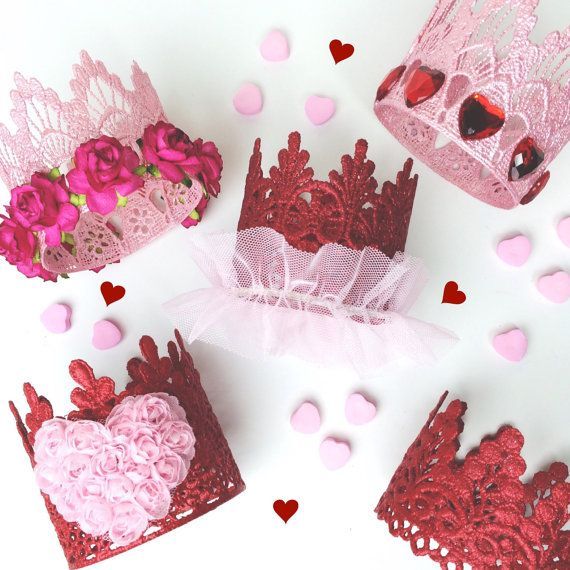 Be Mine || Valentine || Love Crush || MINI lace crown headband || red & pink || Choose ONE || photography prop #crownheadband