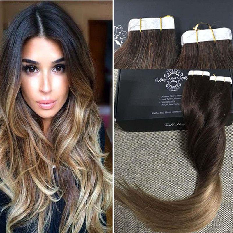 フル輝きbalayageオンブルカラー2オンブル色6退色するカラー18テープで毛延長100本物の人間の髪の毛スキン横糸