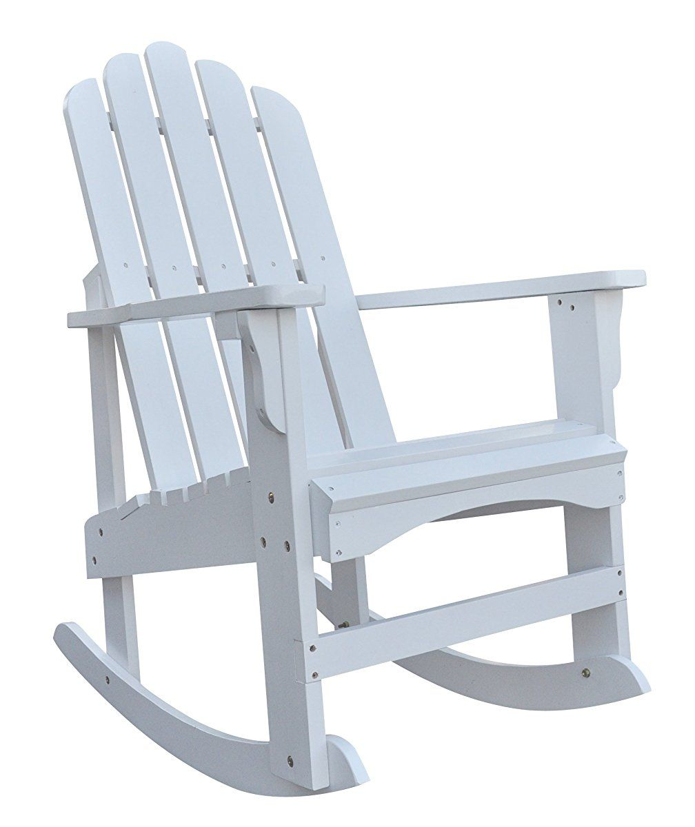 Shine Company Marina Porch Rocker White Adirondack Rocking Chair