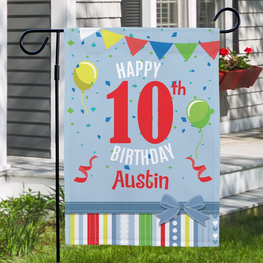 Personalized Confetti And Balloons Birthday Garden Flag In 2020 Personalized Garden Flag Personalized Confetti Birthday Balloons