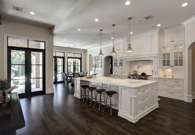 White Kitchen W Medium Dark Wood Floors With Images White