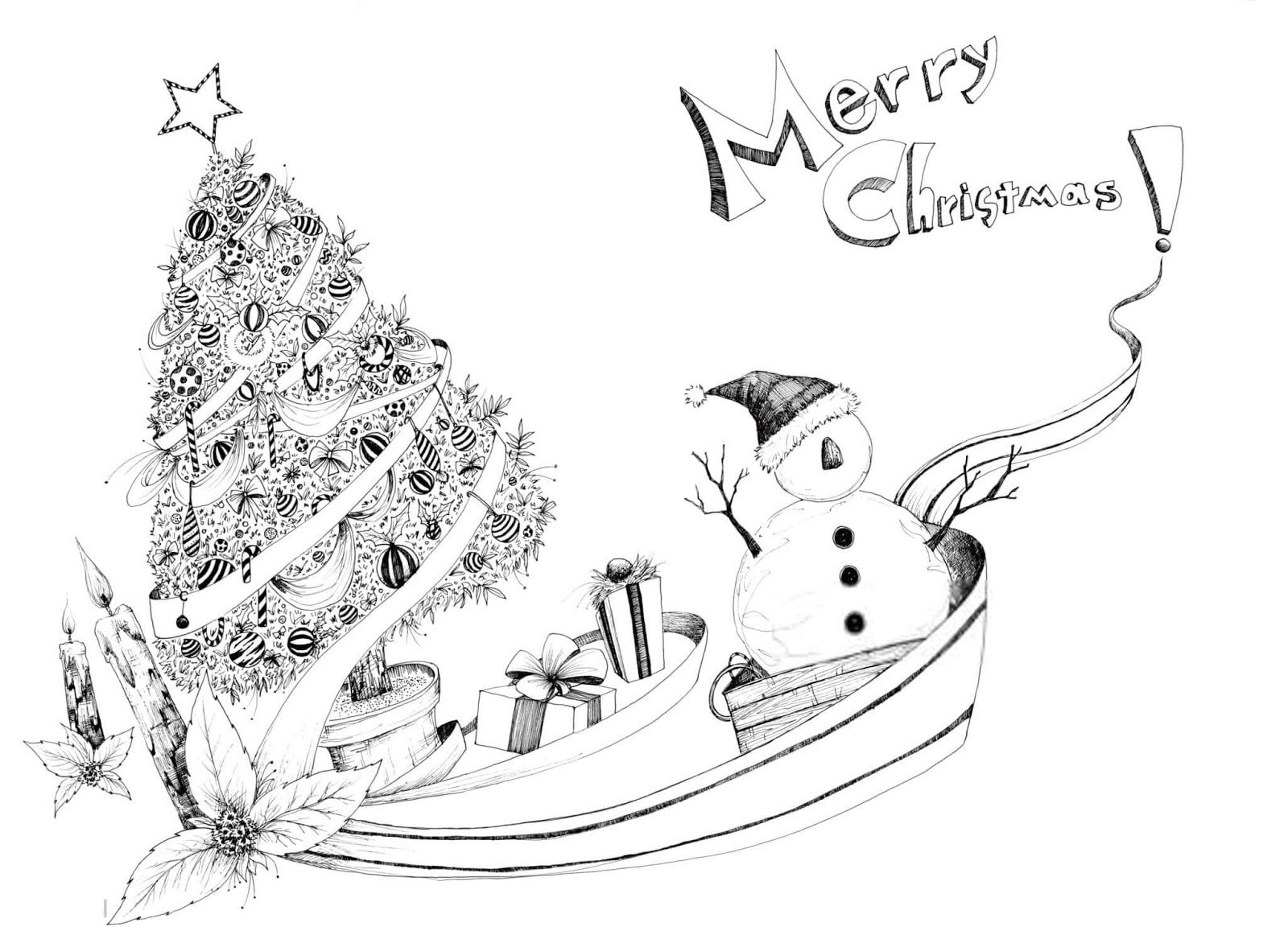 Merry Christmas Drawings Images to Print & Color Merry