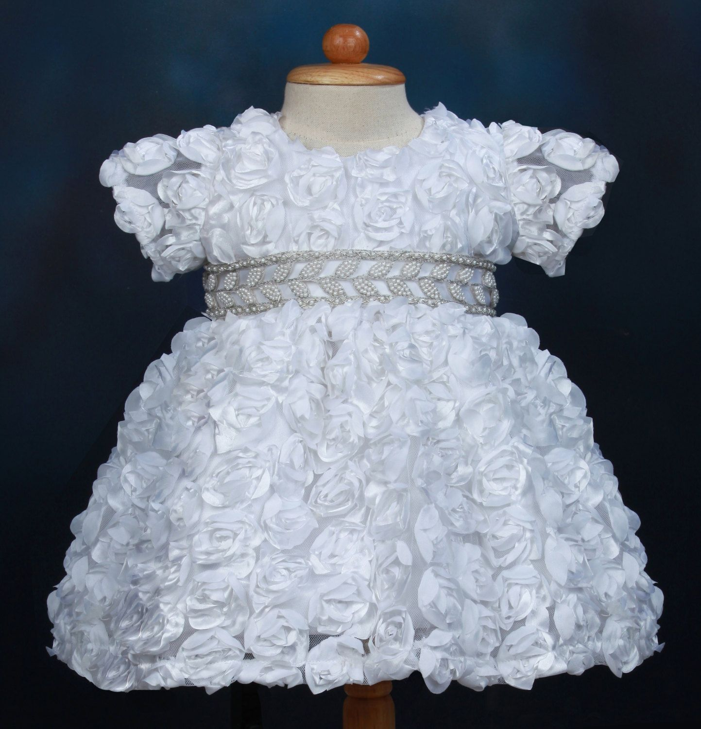 White Rosette Christening Dress Baptism Dress with by Caremour