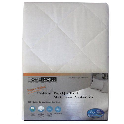 Homescapes King Size 100% Cotton Top Quilted Mattress Protector 25 cm Deep Fitted Mattress Protector 150 x 200 cm (60 x 78 inches) - http://domesticcleaningsupplies.co.uk/product/homescapes-king-size-100-cotton-top-quilted-mattress-protector-25-cm-deep-fitted-mattress-protector-150-x-200-cm-60-x-78-inches/