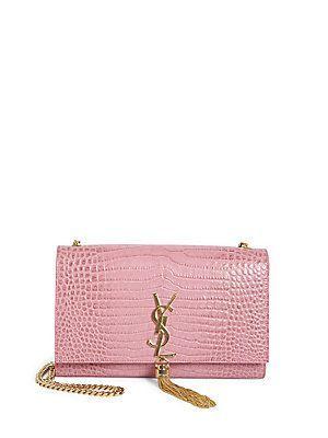 87472ce3c23a Saint Laurent Kate Monogram Croc-Embossed Leather Tassel Chain Shoulder Bag