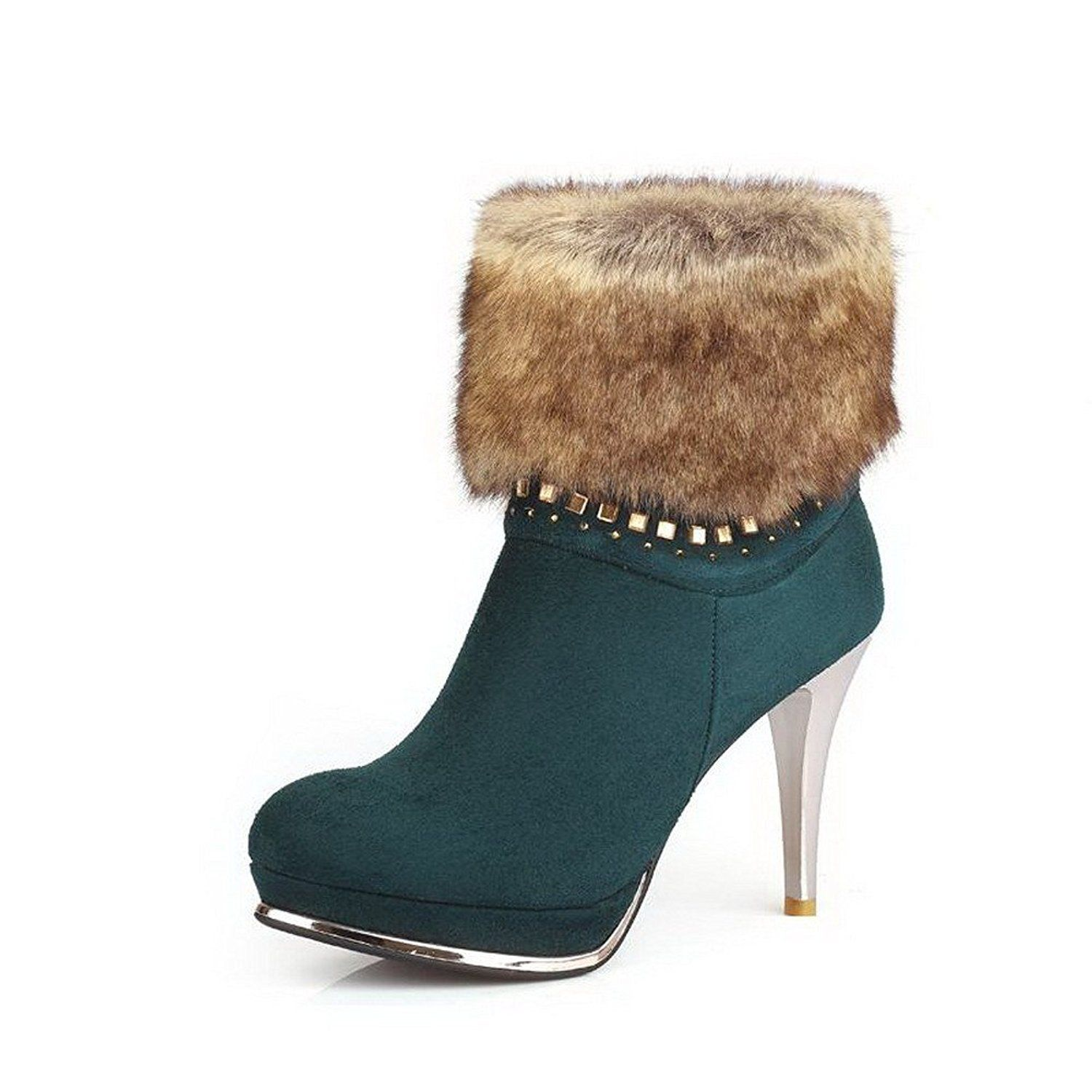 Women's Round Closed Toe Zipper Cow Imitated Suede Solid High Heels Boots