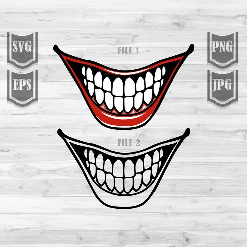 Happy Smile Svg File Clown Smile Clipart Joker Smile Svg Joker Teeth Svg Clown La Joker Smile Clip Art Mouth Clipart
