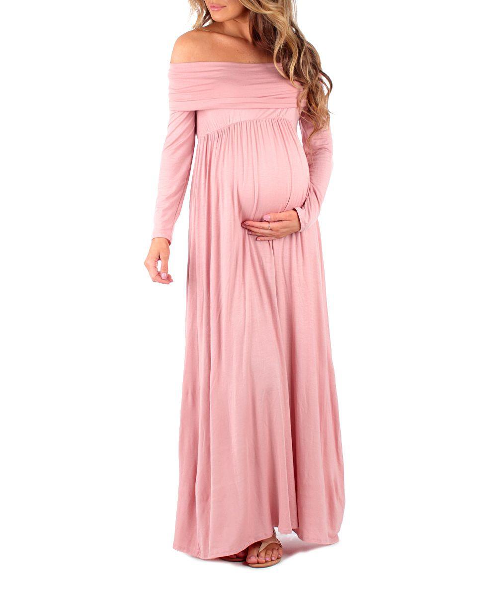 7d78c25cb81d7 Dark Pink Off-Shoulder Maternity Maxi Dress   Products   Maternity ...