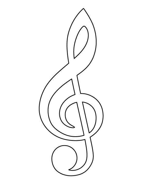 Treble clef pattern Use the printable outline for crafts, creating - treble clef template