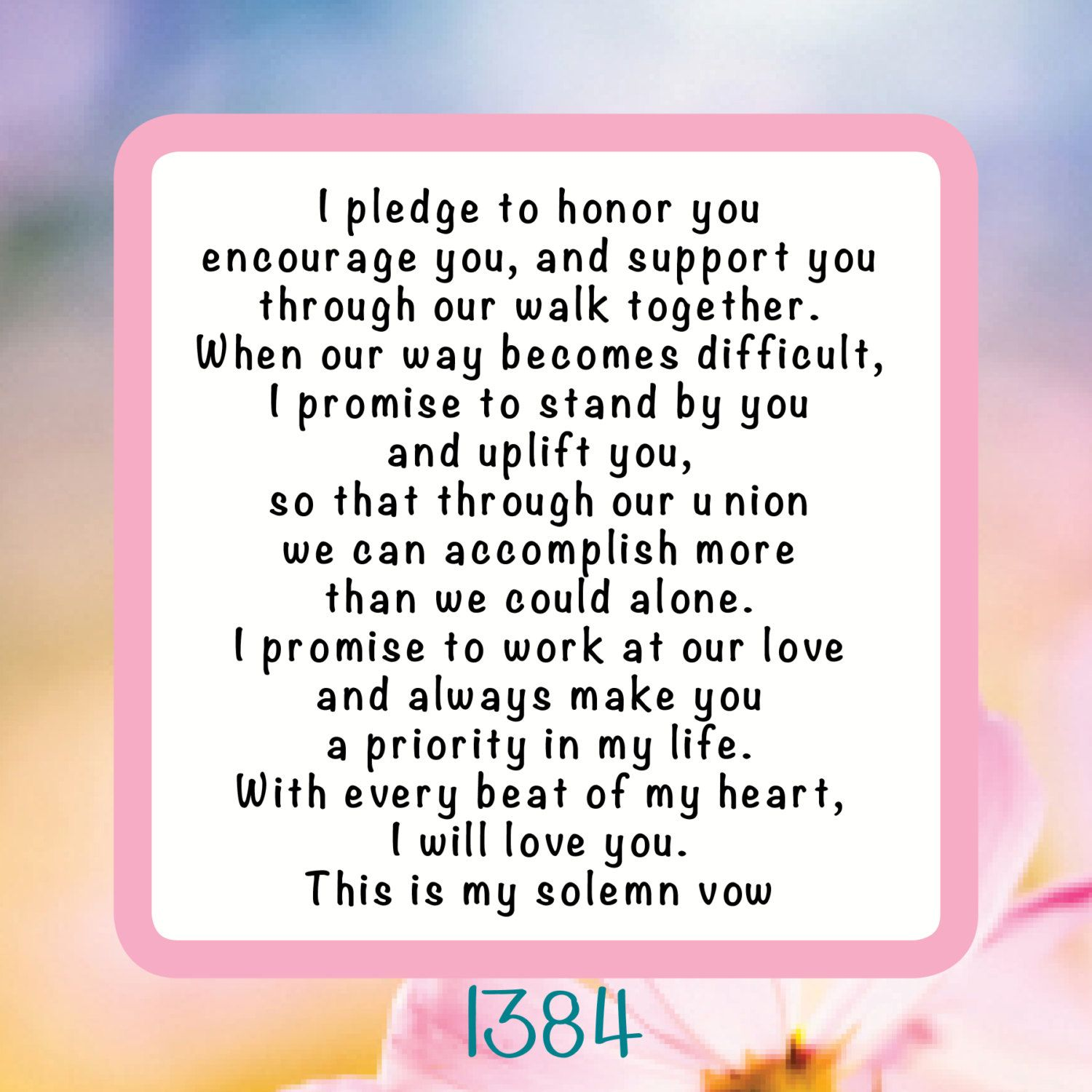 I Pledge, Wedding Vow Reusable Craft Stencil, Decal or