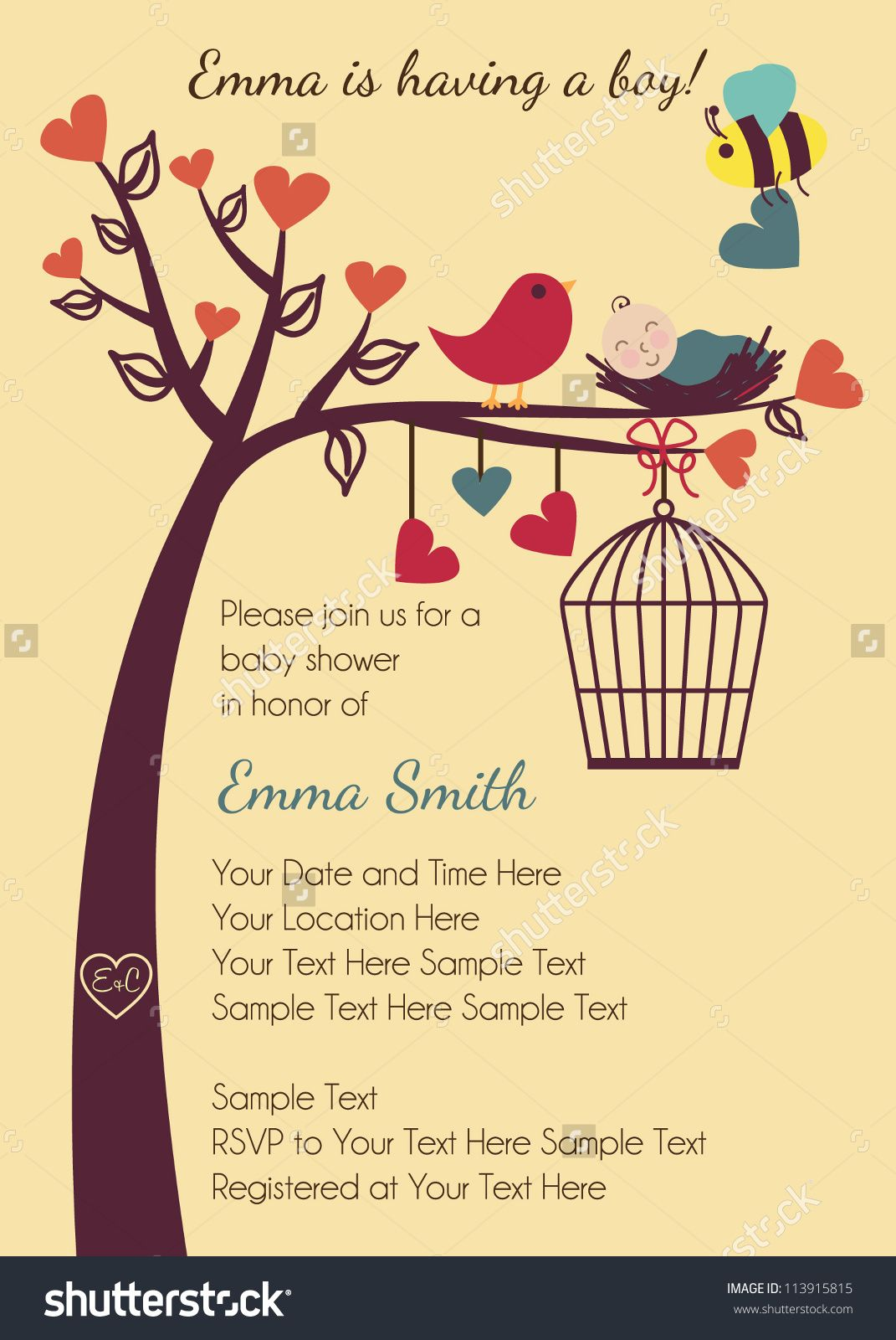 Birds and Bees Baby Shower Invitation | Baby shower | Pinterest ...
