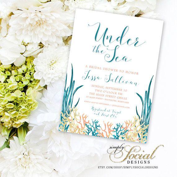 Under The Sea C Turquoise Printable Beach Bridal Shower Invitation Nautical Watercolor