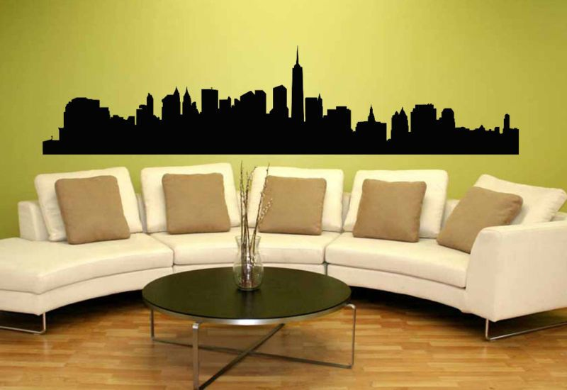 New York City NYC Skyline Silhouette Mural Wall Art Vinyl Decal ...