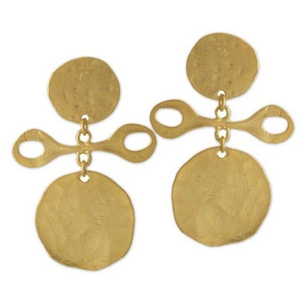 Kenneth Jay Lane Satin Gold Tribal Clip Earring Gold SOXNOD