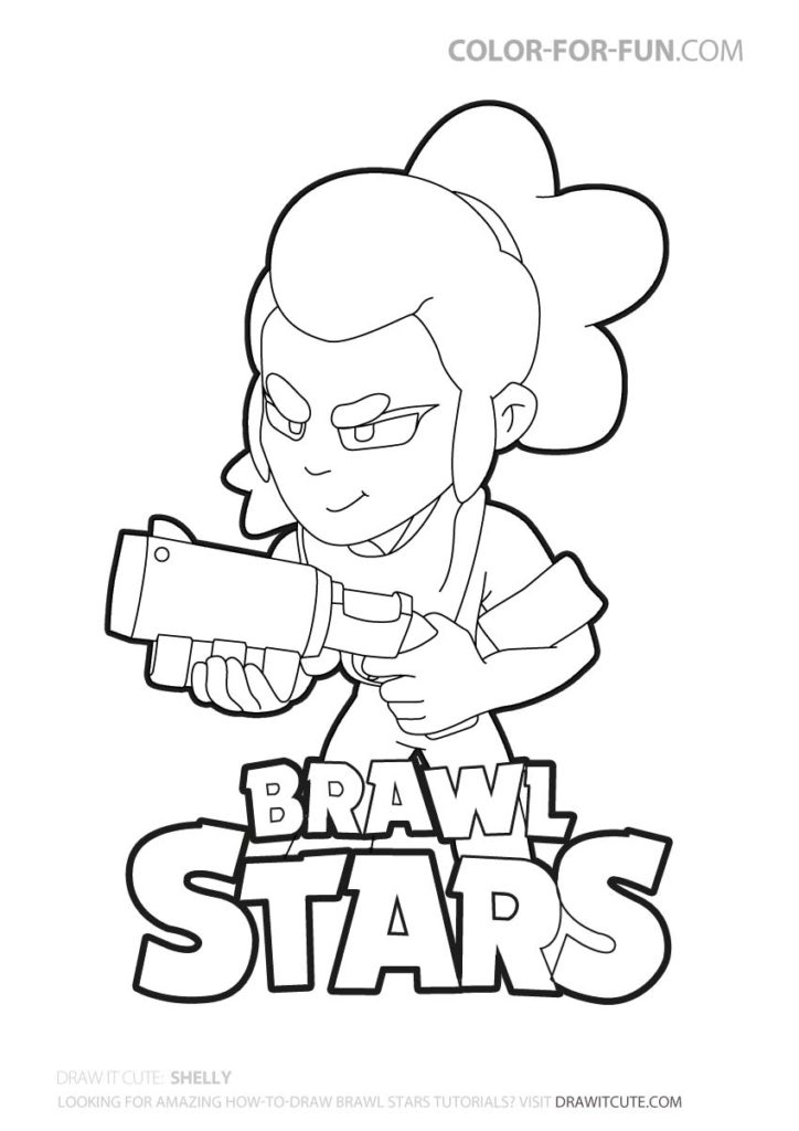 Shelly Brawl Stars Coloring Page Color For Fun Star Coloring Pages Coloring Pages Cool Coloring Pages