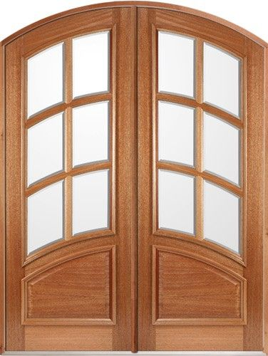 80 Curved 6 Lite Mahogany Arch Top Prehung Double Wood Door Unit