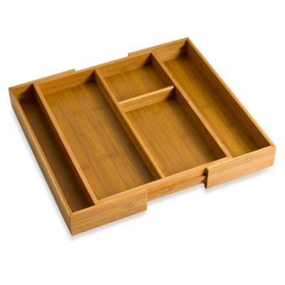 Bamboo Expandable Gadget Tray Kitchen Organization Utensil