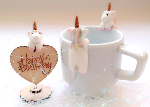 Unicorn Ornament - Unicorn Birthday Tag - Unicorn Tea Bag Holder - Unicorn Lovers Gifts - Unicorn Teabag Holders - Unicorn Cup Friends #tazasceramica