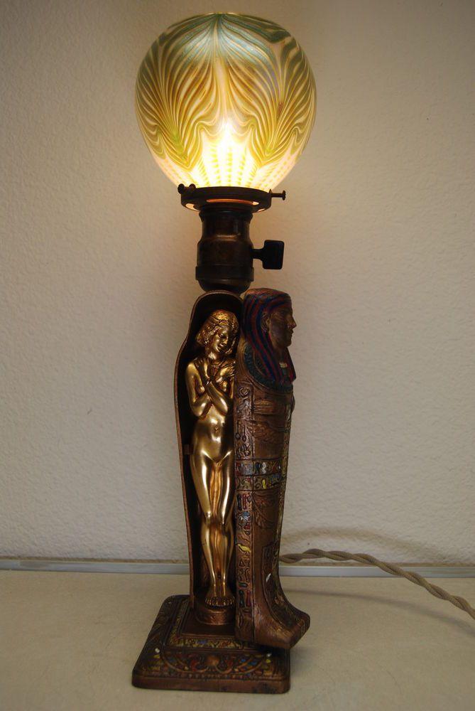 Antique Old Art Deco Nouveau Aronson Tiffany Mummy Egyptian Revival Lamp Egyptianrevival Aronsonlampwithtiffanyshade 8 500 00