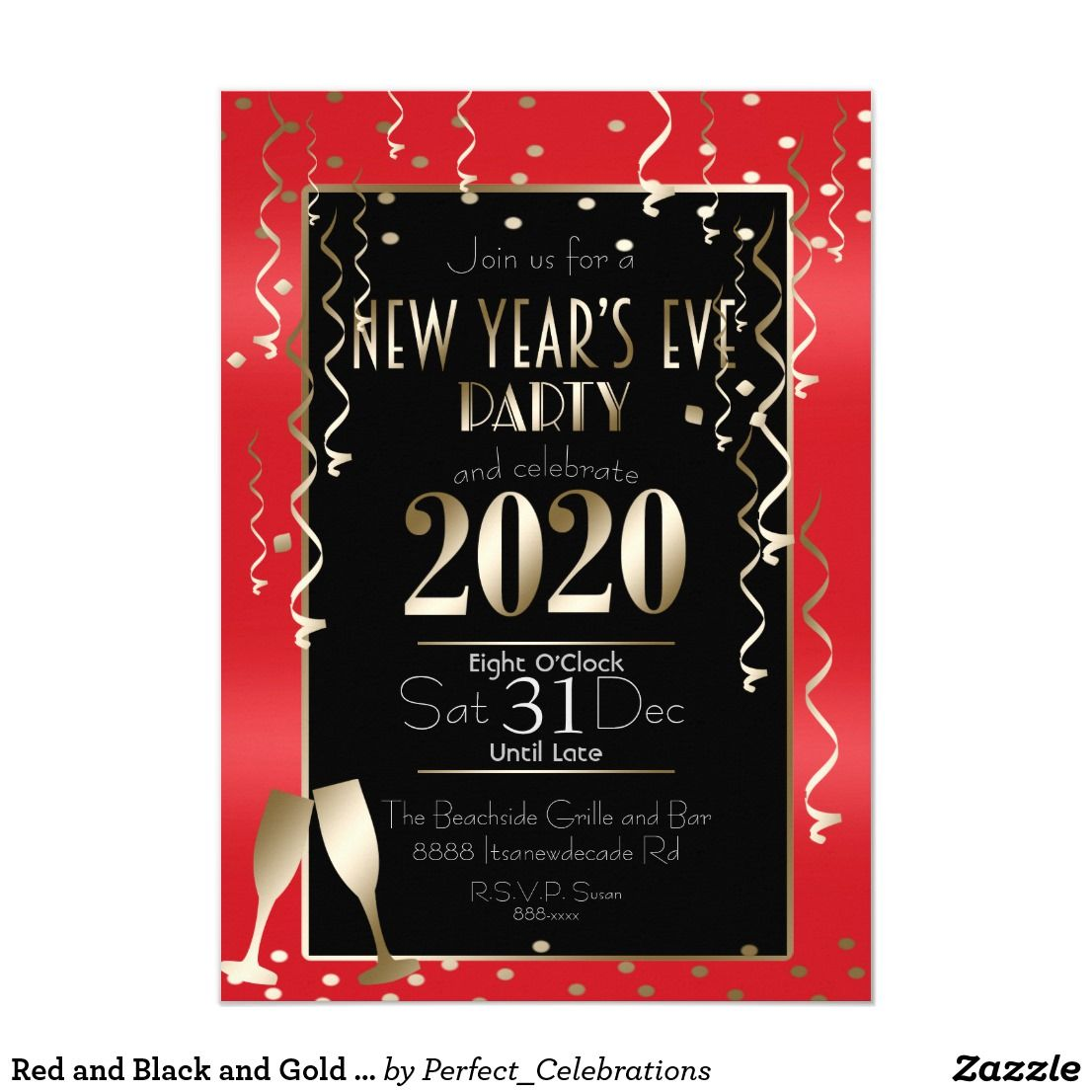 Red and Black and Gold Glitter New Year's Eve 2020