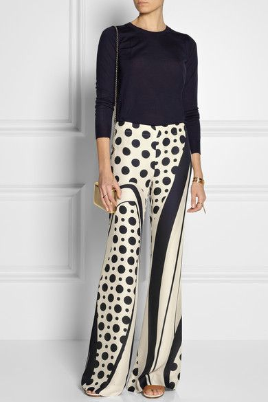 DONNA KARAN Printed silk wide-leg pants