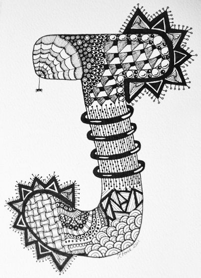 Letter J Zendoodle C Z Ford Zentangle Art Doodle Art Letters Art