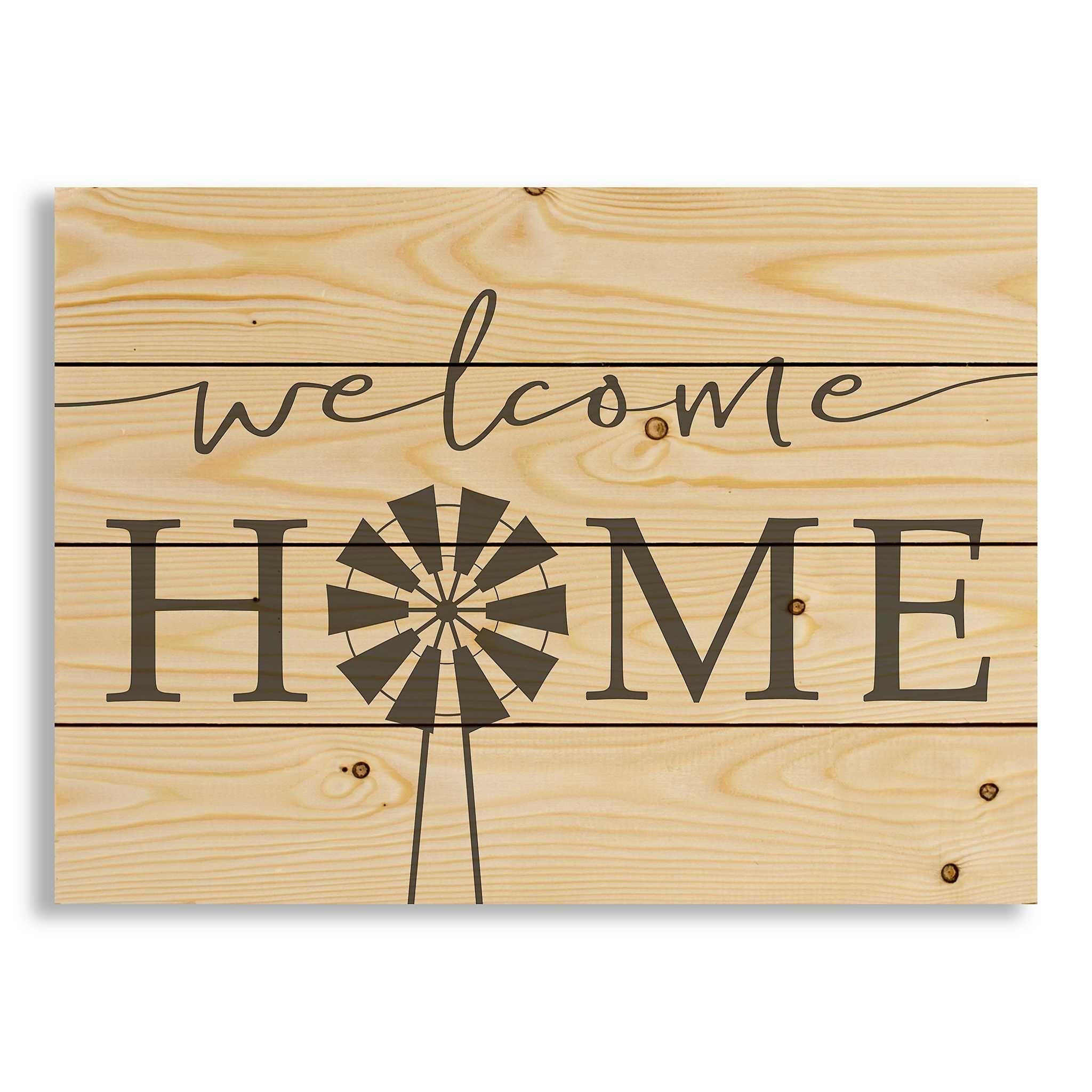 Welcome Home Windmill Wood Pallet Art Print | Wood pallet art ...