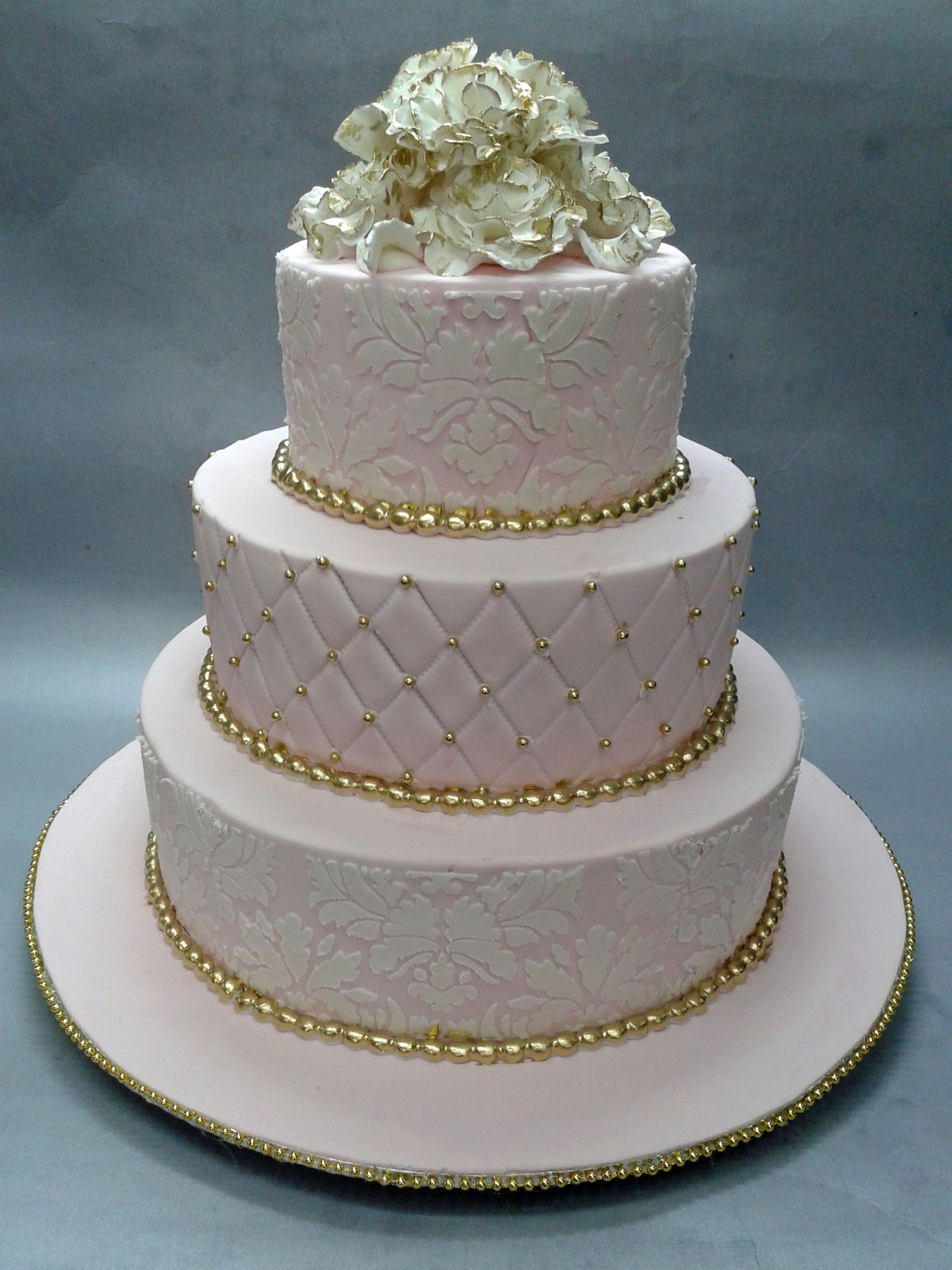 pink white and gold wedding cake pink amp white 3 tiered wedding cake with stenciling 18599