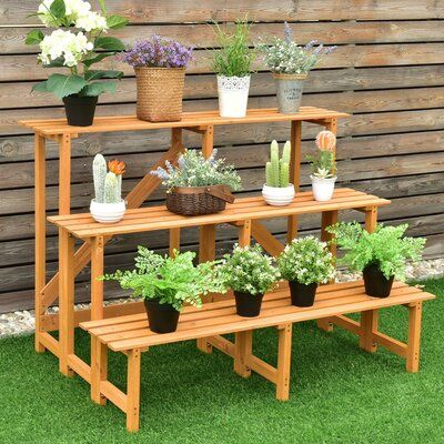 ovve 3-Tier Wide Wood Flower Pot Step Ladder Plant Stand -   18 diy Wood garden ideas