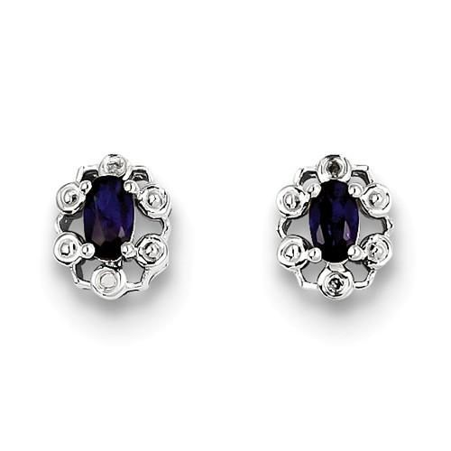 925 Sterling Silver Rhodium-plated Created Blue Sapphire /& Created White Sapphire Post Earrings