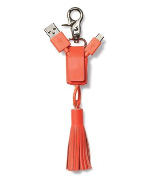Power Link Tassel USB Key Chain A powerful talisman for type A's, this fringy leather key ring masks a cord for emergency charging. (It may rival you as her BFF.) In three colors. To buy: $50, nativeunion.com/us.