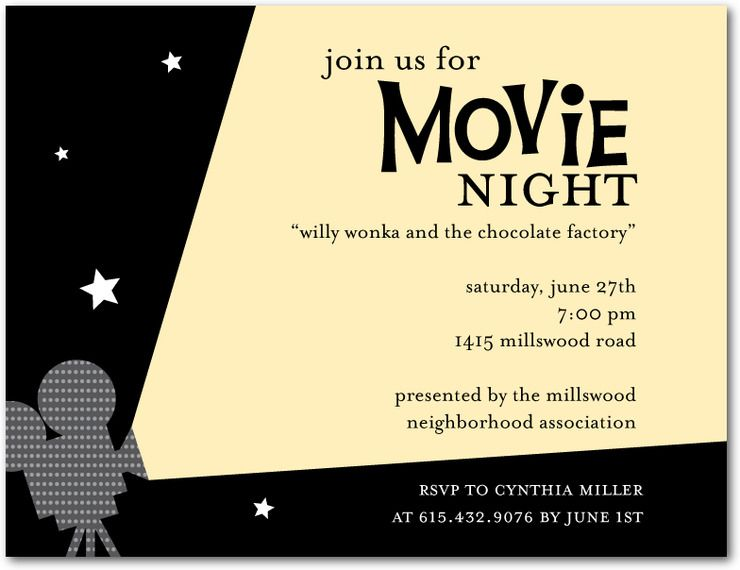 Best Summer Movies for Kids Movie night invitations and Sorority - event invitation
