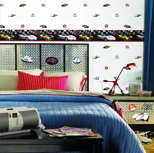 Speed Racer Wallpaper Race Car Wallpaper For A Boys Room Pattern - Boys car wallpaper designs
