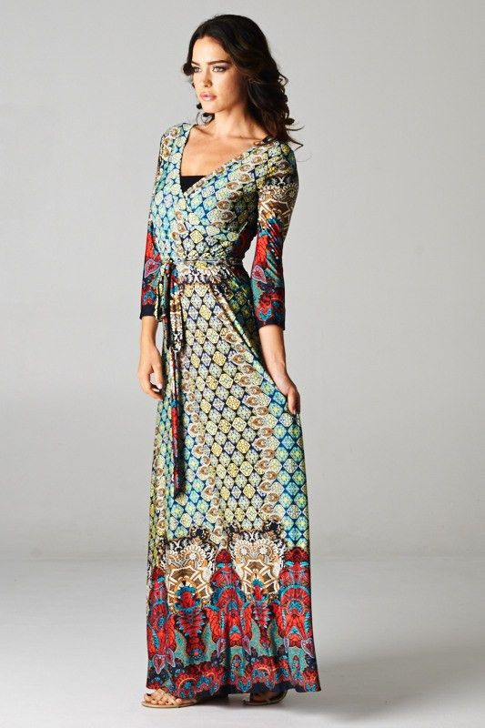 Boho Wrap Maxi Dress Moroccan Quatrefoil Print Fashion