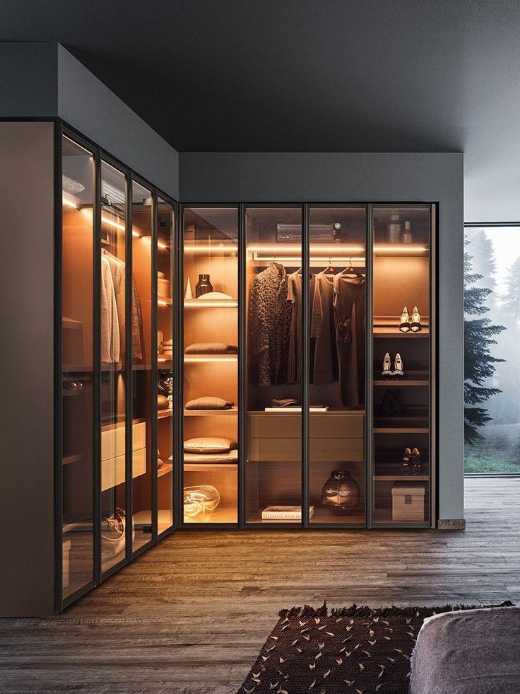 Lackierter Kleiderschrank Aus Holz Und Glas Milano By Pianca In