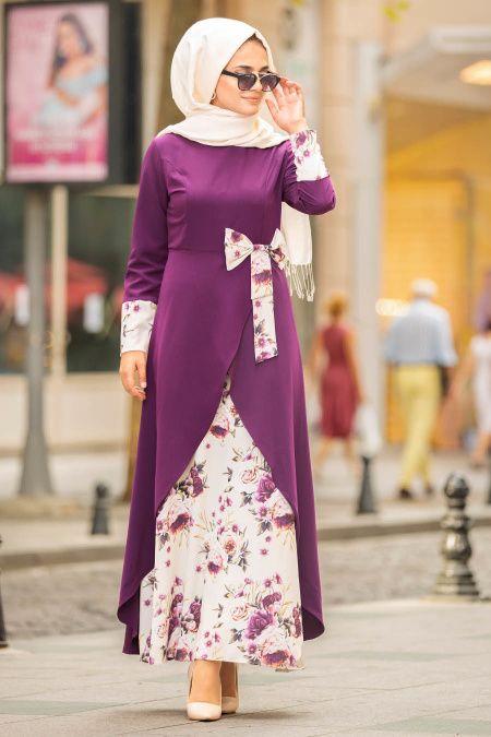 Nayla Collection – Çiçek Detaylı Mor Tesettür Elbise 100386MOR – Tesetturisland.com