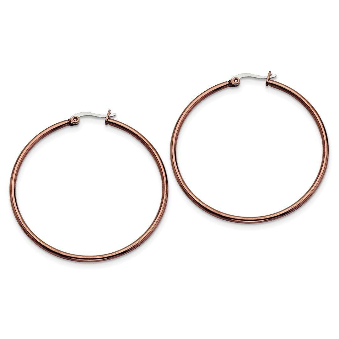 0088fc5e8 ICE CARATS Stainless Steel Brown Plated 48mm Hoop Earrings Ear Hoops Set  Fashion Jewelry Ideal Gifts For Women Gift Set From Heart ** Very kind of  you to ...