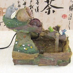 Japanese single-Wei Huo the Totoro doll the TOTORO scene waterwheel water fountain household ornaments gift - Taobao
